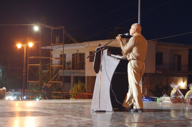 Georgios Papastefanou giving a speech at the Pharasiot convention, Kozani, Greece 2010