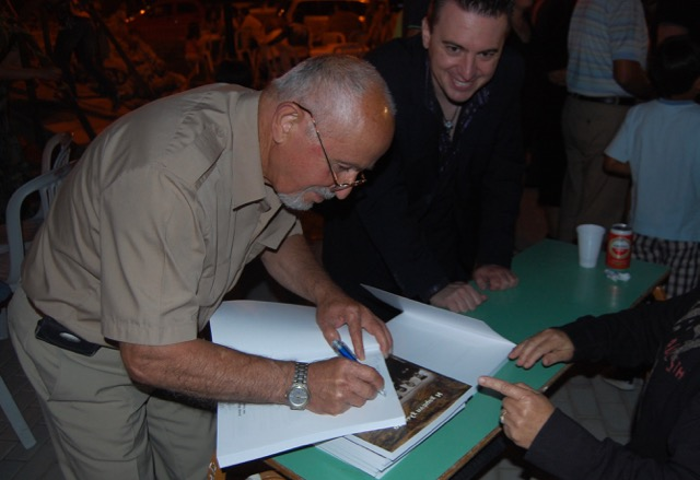 Georgios Papastefanou signing books at the Pharasiot convention, Kozani, Greece 2010