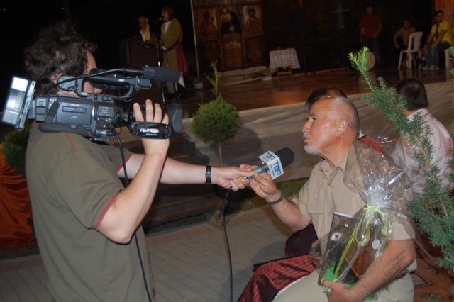 Georgios Papastefanou interviewed by Top TV at the Pharasiot convention, Kozani, Greece 2010.